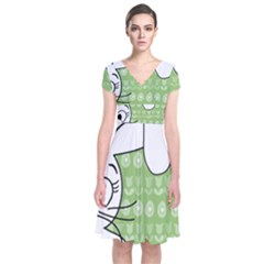 Easter Bunny  Short Sleeve Front Wrap Dress by Valentinaart