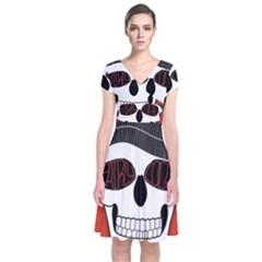 Poster Twenty One Pilots Skull Short Sleeve Front Wrap Dress by Onesevenart