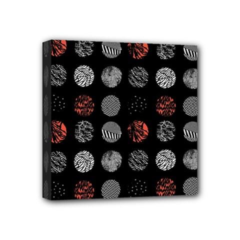 Digital Art Dark Pattern Abstract Orange Black White Twenty One Pilots Mini Canvas 4  X 4  by Onesevenart