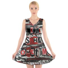 Top Lyrics Twenty One Pilots The Run And Boys V Neck Sleeveless Skater Dress by Onesevenart