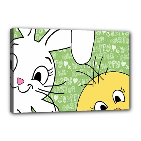 Easter bunny and chick  Canvas 18  x 12  by Valentinaart