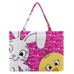 Easter bunny and chick  Medium Zipper Tote Bag by Valentinaart