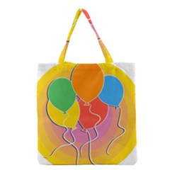 Birthday Party Balloons Colourful Cartoon Illustration Of A Bunch Of Party Balloon Grocery Tote Bag by Nexatart