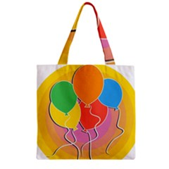 Birthday Party Balloons Colourful Cartoon Illustration Of A Bunch Of Party Balloon Zipper Grocery Tote Bag by Nexatart