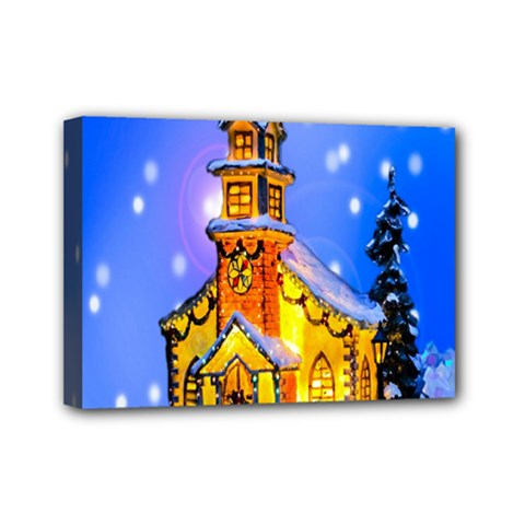 Winter Church Mini Canvas 7  X 5  by Nexatart