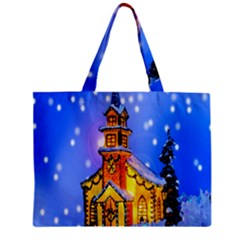 Winter Church Zipper Mini Tote Bag by Nexatart