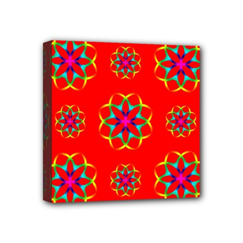 Rainbow Colors Geometric Circles Seamless Pattern On Red Background Mini Canvas 4  X 4  by Nexatart