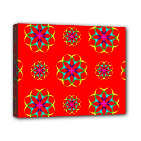 Rainbow Colors Geometric Circles Seamless Pattern On Red Background Canvas 10  X 8  by Nexatart