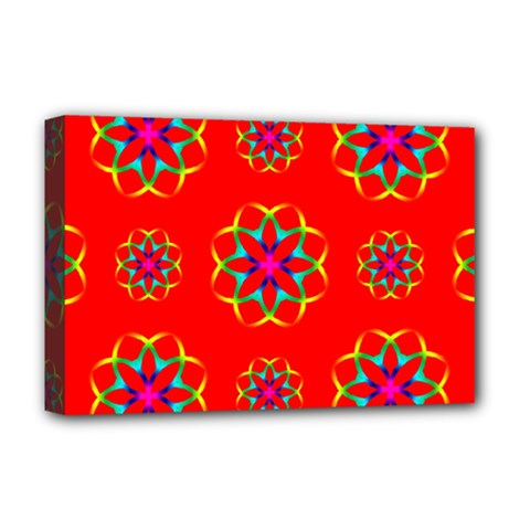 Rainbow Colors Geometric Circles Seamless Pattern On Red Background Deluxe Canvas 18  X 12   by Nexatart