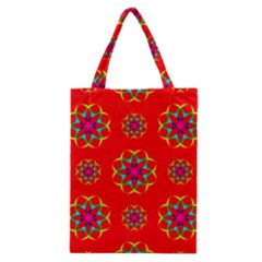 Rainbow Colors Geometric Circles Seamless Pattern On Red Background Classic Tote Bag by Nexatart
