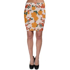 Vintage Floral Wallpaper Background In Shades Of Orange Bodycon Skirt by Nexatart