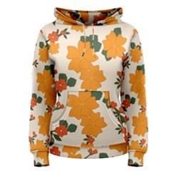 Vintage Floral Wallpaper Background In Shades Of Orange Women s Pullover Hoodie by Nexatart