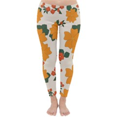Vintage Floral Wallpaper Background In Shades Of Orange Classic Winter Leggings by Nexatart
