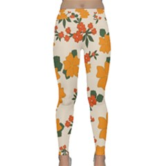 Vintage Floral Wallpaper Background In Shades Of Orange Classic Yoga Leggings by Nexatart