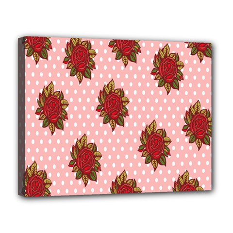 Pink Polka Dot Background With Red Roses Canvas 14  X 11  by Nexatart
