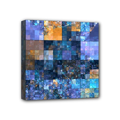 Blue Squares Abstract Background Of Blue And Purple Squares Mini Canvas 4  X 4  by Nexatart