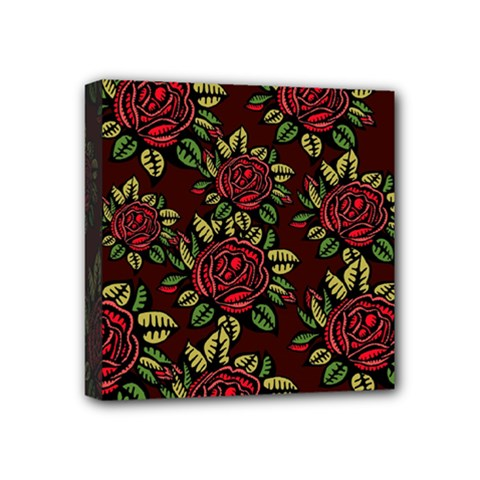 A Red Rose Tiling Pattern Mini Canvas 4  X 4  by Nexatart