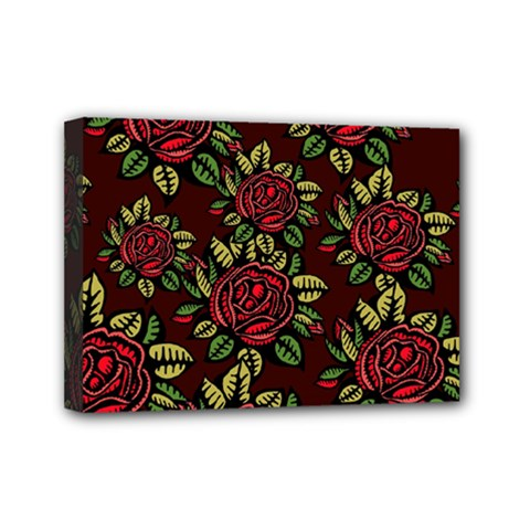A Red Rose Tiling Pattern Mini Canvas 7  X 5  by Nexatart