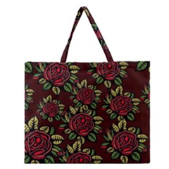 A Red Rose Tiling Pattern Zipper Large Tote Bag by Nexatart