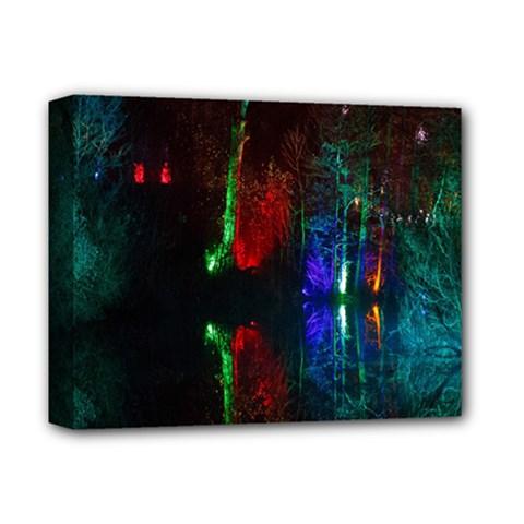 Illuminated Trees At Night Near Lake Deluxe Canvas 14  X 11  by Nexatart
