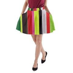 Stripe Background A Line Pocket Skirt by Nexatart