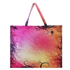 Floral Frame Surrealistic Zipper Large Tote Bag by Nexatart