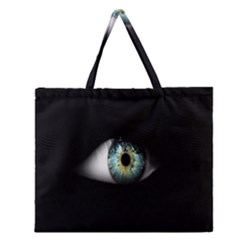Eye On The Black Background Zipper Large Tote Bag by Nexatart