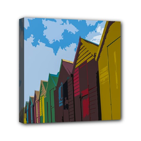 Brightly Colored Dressing Huts Mini Canvas 6  X 6  by Nexatart