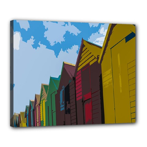 Brightly Colored Dressing Huts Canvas 20  X 16  by Nexatart
