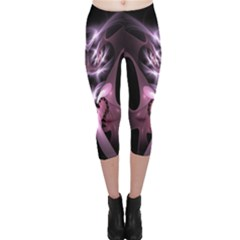 Angry Mantis Fractal In Shades Of Purple Capri Leggings  by Nexatart