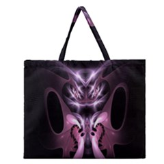 Angry Mantis Fractal In Shades Of Purple Zipper Large Tote Bag by Nexatart