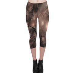 A Fractal Image In Shades Of Brown Capri Leggings  by Nexatart