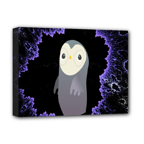 Fractal Image With Penguin Drawing Deluxe Canvas 16  X 12   by Nexatart