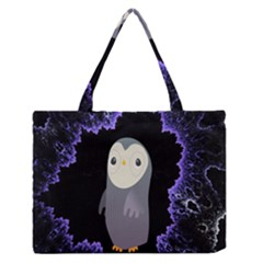Fractal Image With Penguin Drawing Medium Zipper Tote Bag by Nexatart
