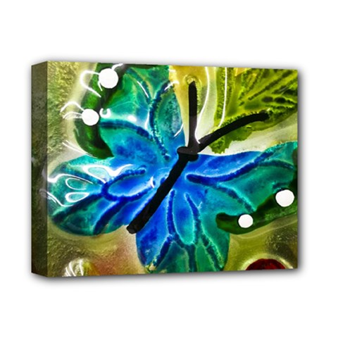 Blue Spotted Butterfly Art In Glass With White Spots Deluxe Canvas 14  X 11  by Nexatart