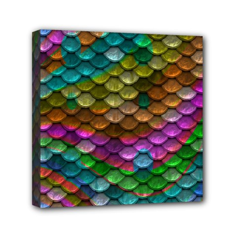 Fish Scales Pattern Background In Rainbow Colors Wallpaper Mini Canvas 6  X 6