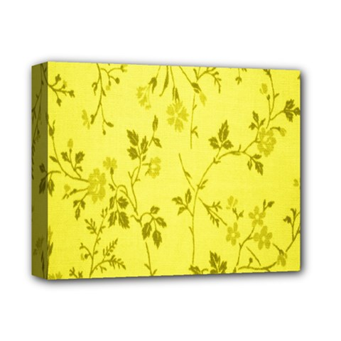 Flowery Yellow Fabric Deluxe Canvas 14  X 11  by Nexatart