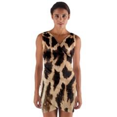 Giraffe Texture Yellow And Brown Spots On Giraffe Skin Wrap Front Bodycon Dress