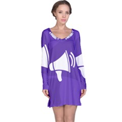 Announce Sing White Blue Long Sleeve Nightdress by Mariart