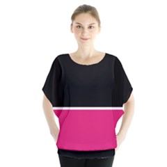 Black Pink Line White Blouse by Mariart
