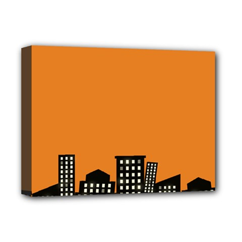 City Building Orange Deluxe Canvas 16  X 12   by Mariart