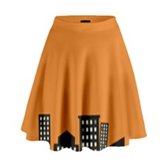 City Building Orange High Waist Skirt by Mariart