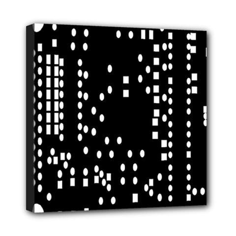 Circle Plaid Black White Mini Canvas 8  X 8  by Mariart