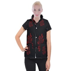 Dendron Diffusion Aggregation Flower Floral Leaf Red Black Women s Button Up Puffer Vest