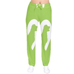 Dog Green White Animals Drawstring Pants by Mariart
