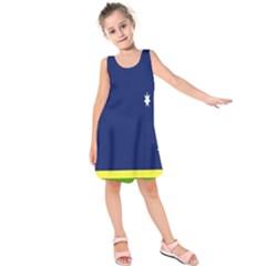 Flag Star Blue Green Yellow Kids  Sleeveless Dress