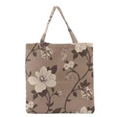 Floral Flower Rose Leaf Grey Grocery Tote Bag by Mariart