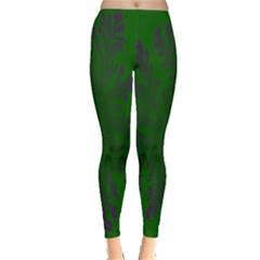 Dendron Diffusion Aggregation Flower Floral Leaf Green Purple Leggings  by Mariart