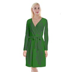 Dendron Diffusion Aggregation Flower Floral Leaf Green Purple Long Sleeve Velvet Front Wrap Dress