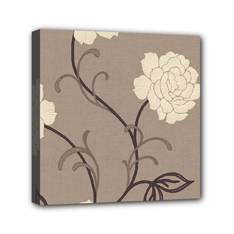 Flower Floral Black Grey Rose Mini Canvas 6  X 6  by Mariart